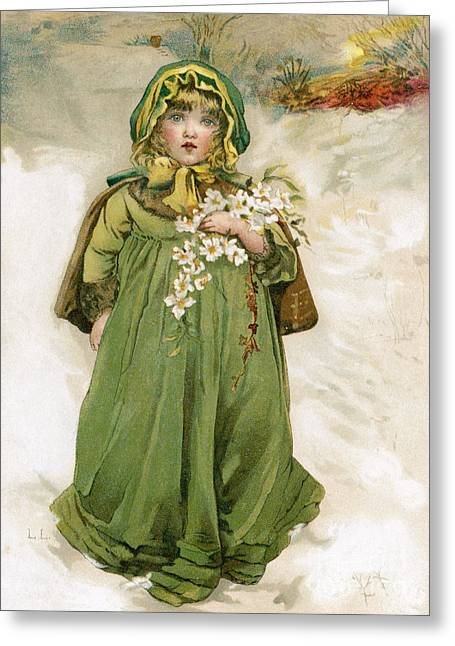 A Girl With Flowers In Snow Greeting Card