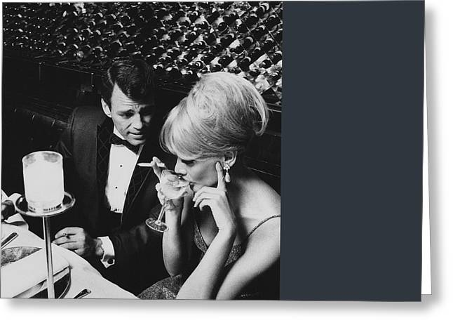 A Glamorous 1960s Couple Dining Greeting Card by Horn & Griner