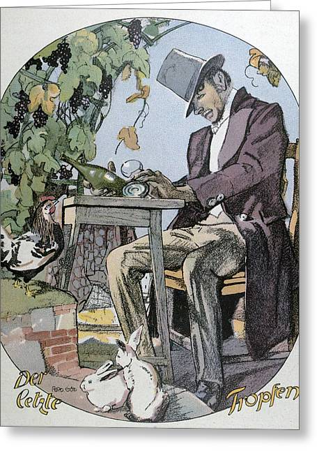 A Glass Of Wine. Food And Drink, Liszt Gourmet Archive Greeting Card by Gotz, Ferdinand (1874-1936), German