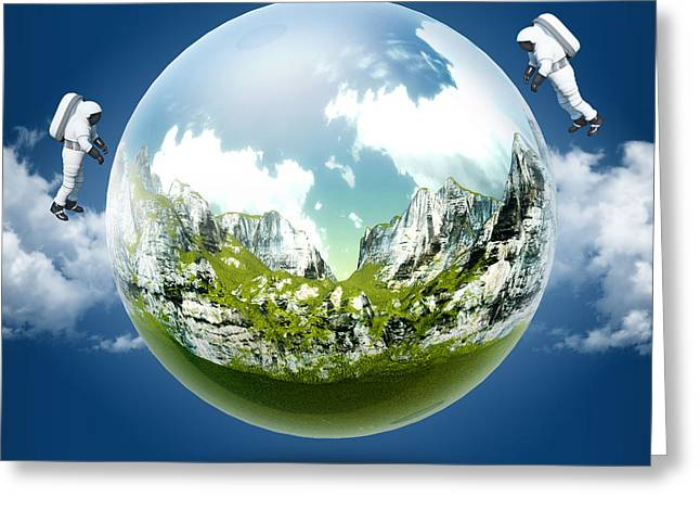 A Glass Transparent Ball Mountains Inside It With Astronaut On Blue Sky Greeting Card by Thanes