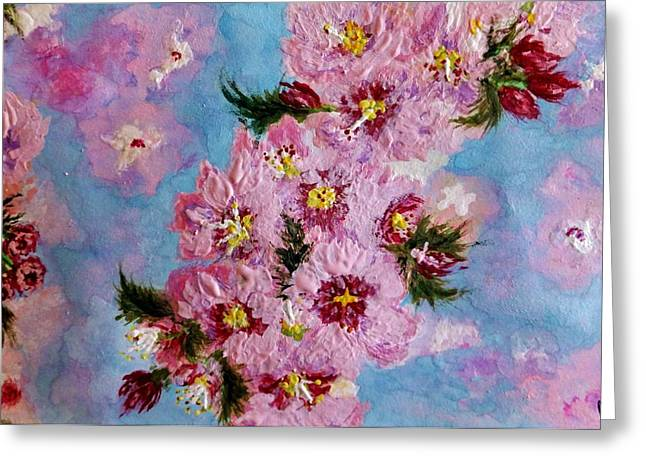 Greeting Card featuring the painting A Glimpse Of Spring... by Cristina Mihailescu