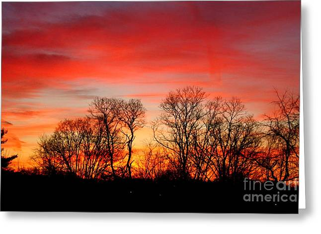 A Glowing January Sunrise Greeting Card by Jay Nodianos