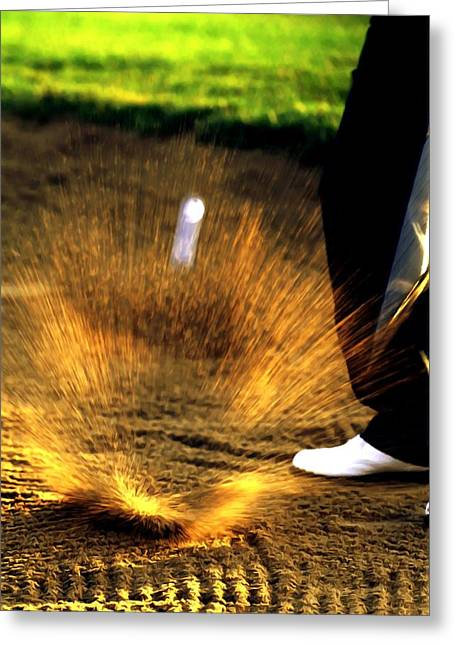 A Golfer Hitting The Ball From A Sand Trap Greeting Card by Lanjee Chee