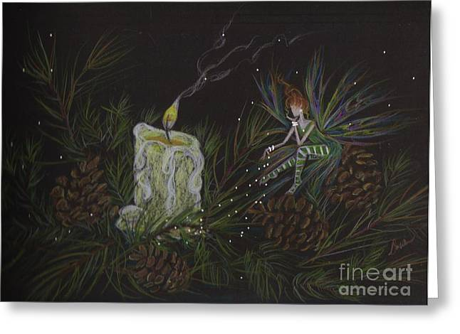 Pine Needles Drawings Greeting Cards - A Good Long Think Greeting Card by Dawn Fairies
