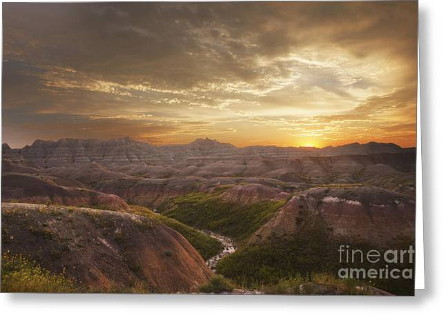 A Good Sunrise In The Badlands Greeting Card