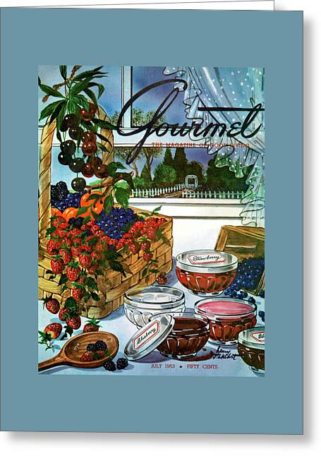 A Gourmet Cover Of A Fruit Basket Greeting Card by Henry Stahlhut