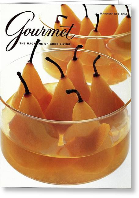 A Gourmet Cover Of Baked Pears Greeting Card
