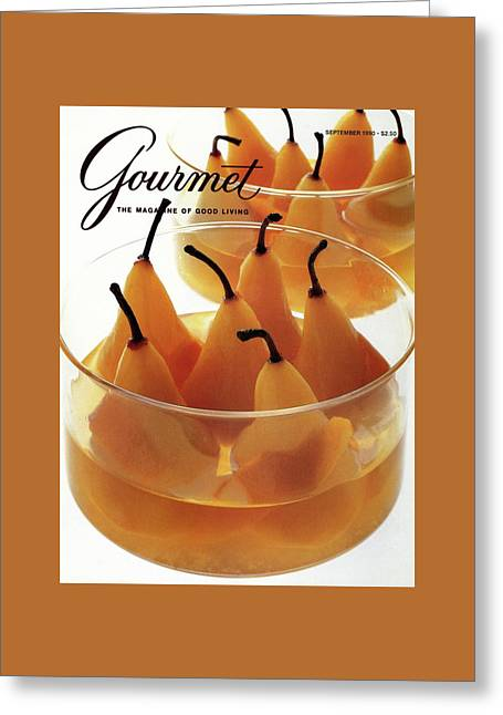 A Gourmet Cover Of Baked Pears Greeting Card by Romulo Yanes
