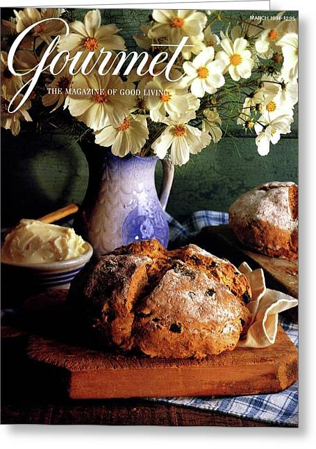 A Gourmet Cover Of Bread And Flowers Greeting Card by Romulo Yanes
