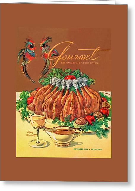 A Gourmet Cover Of Chicken Greeting Card by Henry Stahlhut