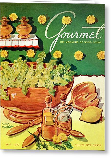 A Gourmet Cover Of Dandelion Salad Greeting Card by Henry Stahlhut
