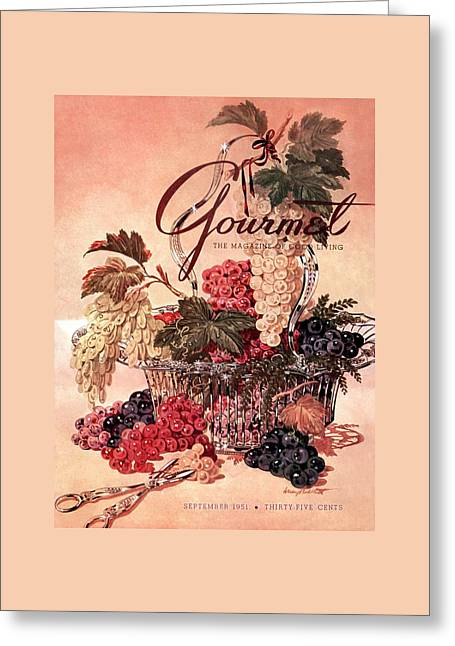 A Gourmet Cover Of Grapes Greeting Card by Henry Stahlhut