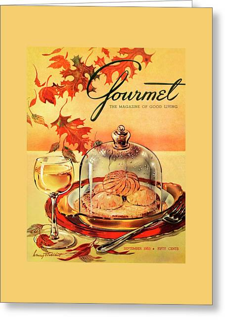 A Gourmet Cover Of Mushrooms On Toast Greeting Card by Henry Stahlhut