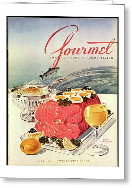 A Gourmet Cover Of Poached Salmon Greeting Card