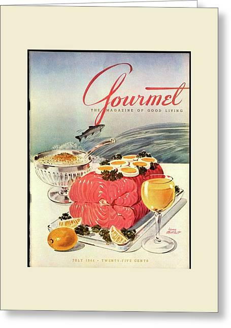 A Gourmet Cover Of Poached Salmon Greeting Card by Henry Stahlhut