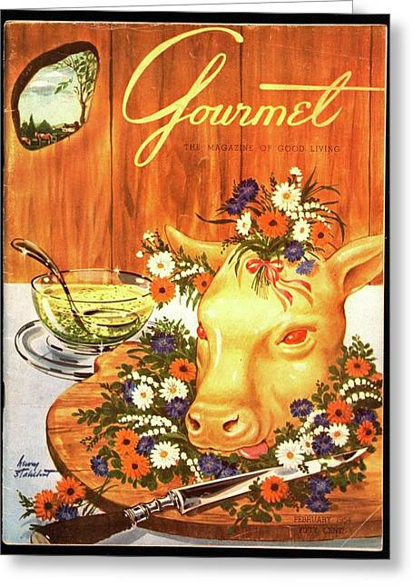 A Gourmet Cover Of Tete De Veau Greeting Card by Henry Stahlhut