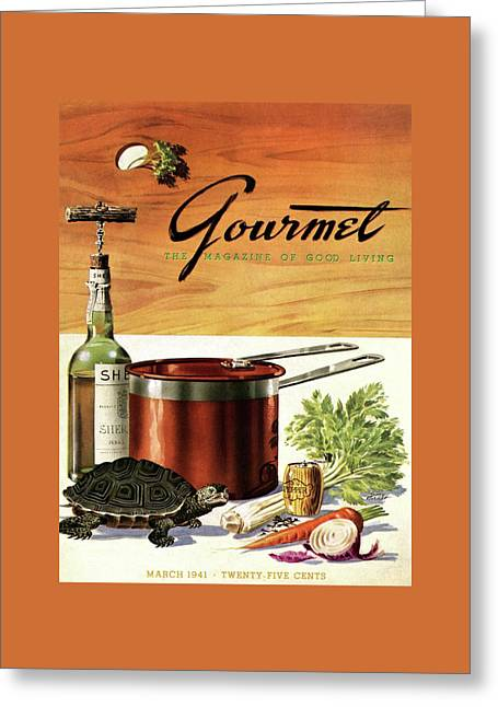 A Gourmet Cover Of Turtle Soup Ingredients Greeting Card by Henry Stahlhut