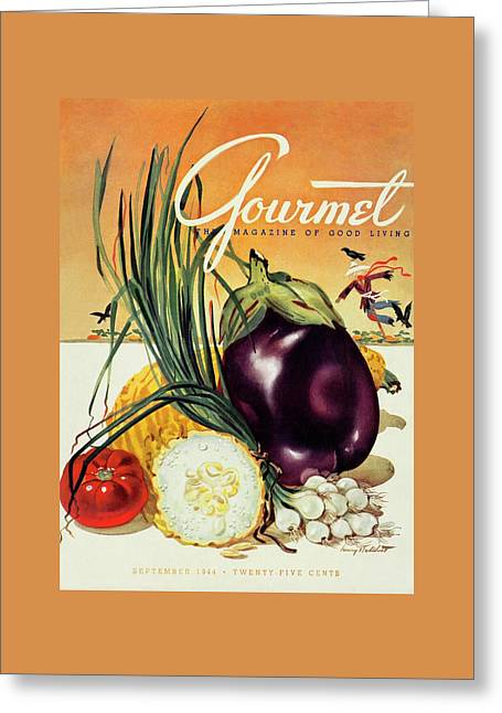 A Gourmet Cover Of Vegetables Greeting Card by Henry Stahlhut