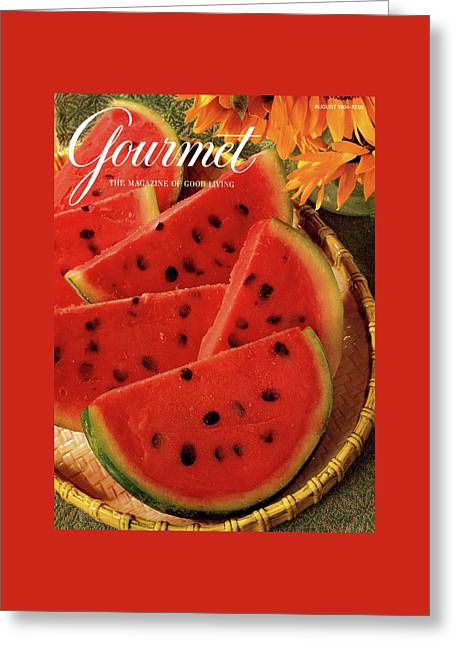 A Gourmet Cover Of Watermelon Sorbet Greeting Card by Romulo Yanes