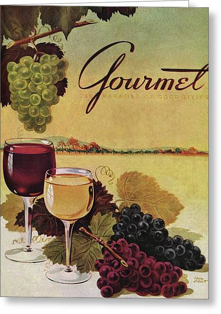 A Gourmet Cover Of Wine Greeting Card by Henry Stahlhut