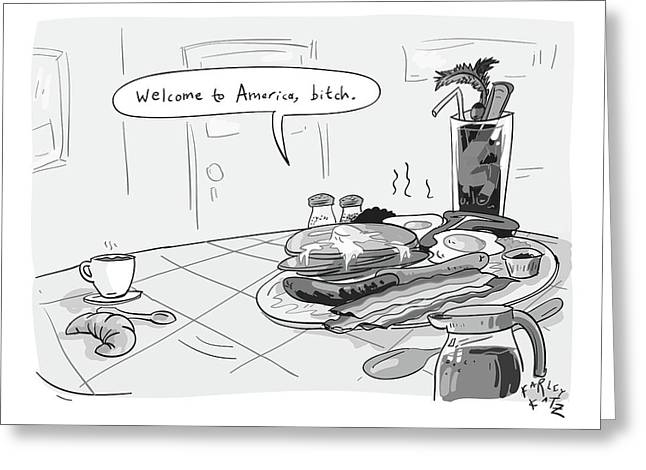 A Greasy Plate Of Pancakes Greeting Card