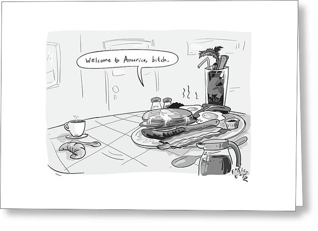 A Greasy Plate Of Pancakes Greeting Card by Farley Katz