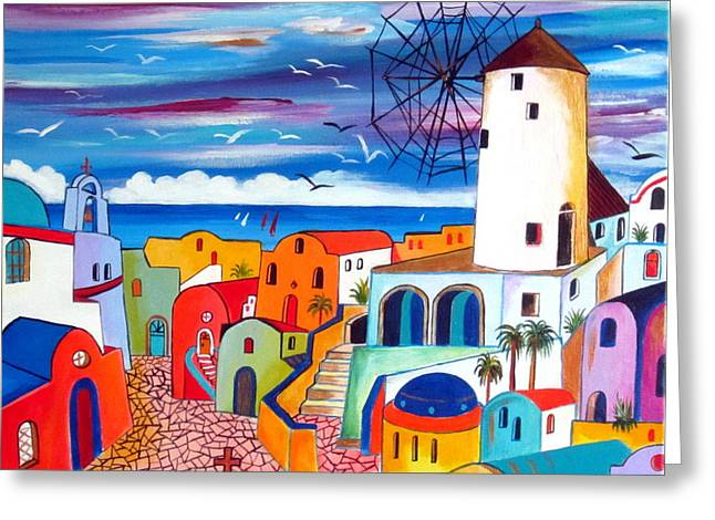 A Greek Mill And The Colors Of Oia Santorini  Greeting Card by Roberto Gagliardi