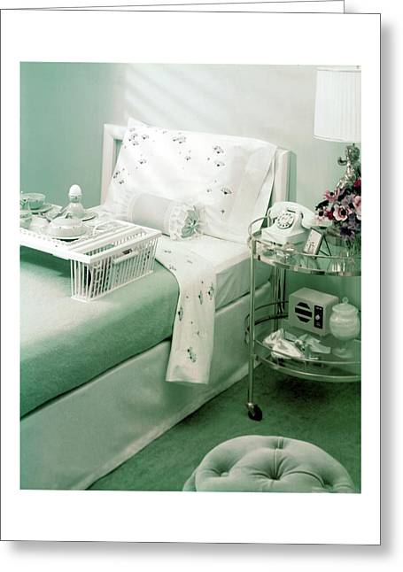 A Green Bedroom With A Breakfast Tray On The Bed Greeting Card