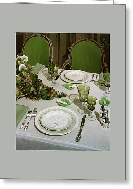A Green Table Setting Greeting Card by Wiliam Grigsby