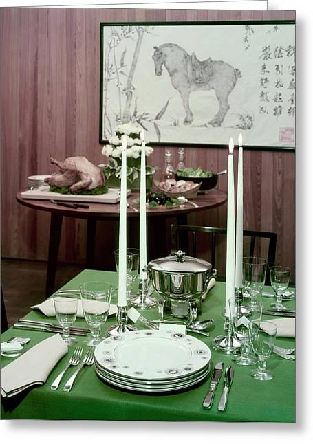 A Green Table Greeting Card