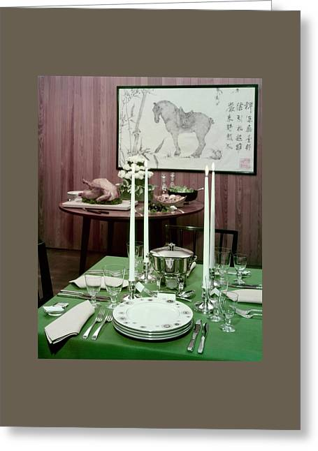 A Green Table Greeting Card by Wiliam Grigsby
