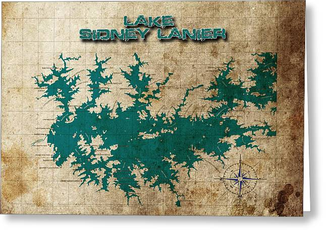 Vintage Map Print Lake Sidney Lanier Georgia Greeting Card by Greg Sharpe