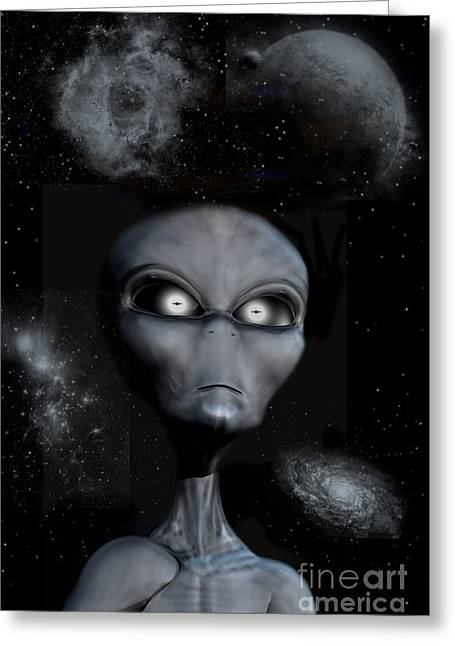 A Grey Alien Greeting Card by Mark Stevenson