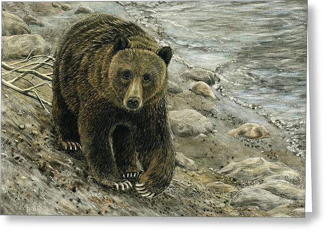Greeting Card featuring the drawing A Grey And Grizzly Day by Sandra LaFaut