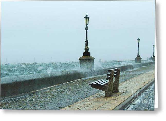 A Grey Wet Day By The Sea Greeting Card