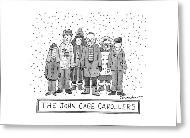 A Group Of Carolers Stands In The Snow Greeting Card