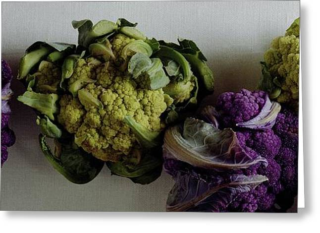 A Group Of Cauliflower Heads Greeting Card by Romulo Yanes