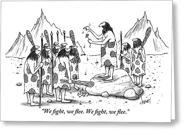 A Group Of Cavemen Gather Around A Leader Greeting Card