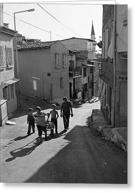 A Group Of Children In Kadifekale District In Izmir Greeting Card by Ilker Goksen