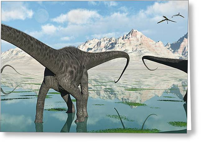 A Group Of Diplodocus Dinosaurs Grazing Greeting Card