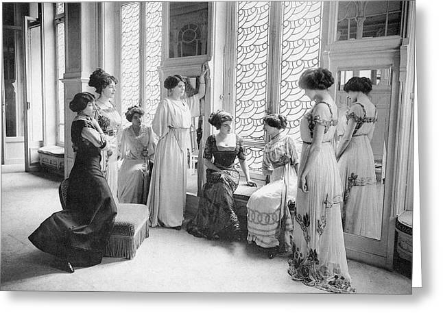 A Group Of Mannequins Relax  And Chat Greeting Card by Mary Evans Picture Library