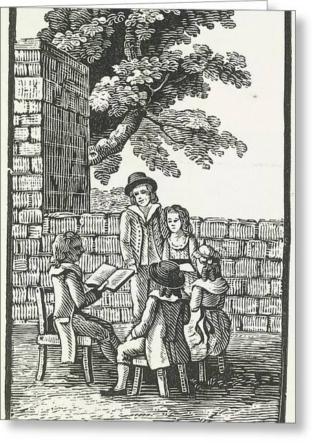 A Group Of People Being Read To. Greeting Card by British Library