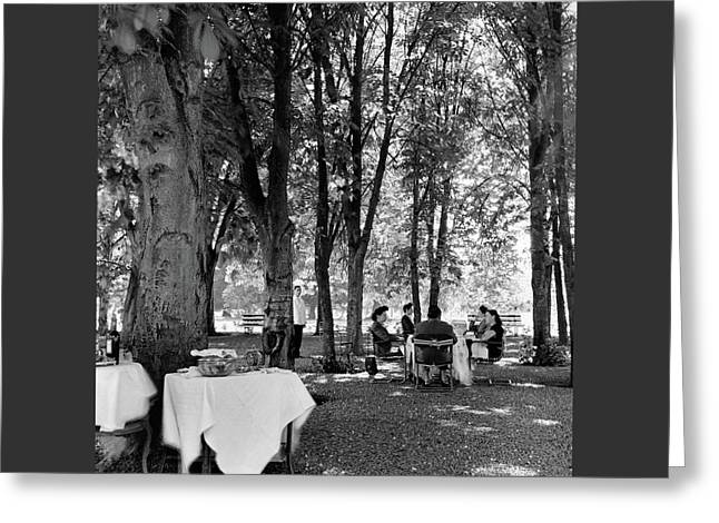 A Group Of People Eating Lunch Under Trees Greeting Card by Luis Lemus