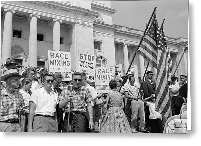 A Group Of People Rally In Washington Greeting Card by Stocktrek Images