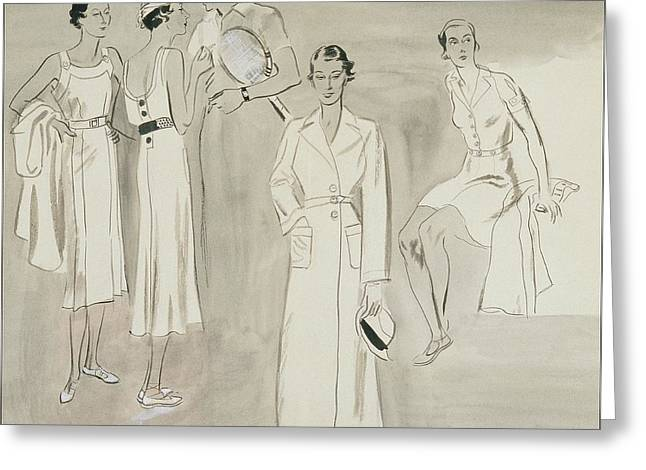 A Group Of People Wearing Tennis Wear Greeting Card by R.S. Grafstrom