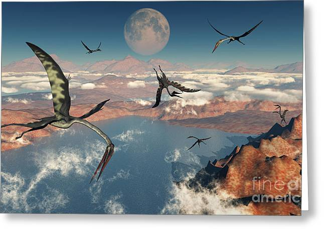 A Group Of Quetzalcoatlus Pterosaurs Greeting Card