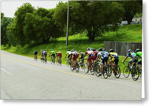 A Group Of Road Bicyclists Traveling Greeting Card