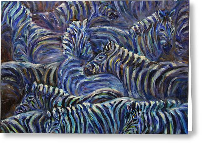 Greeting Card featuring the painting A Group Of Zebras by Xueling Zou