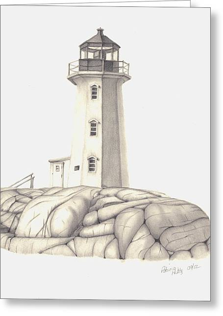Greeting Card featuring the drawing A Guiding Light by Patricia Hiltz