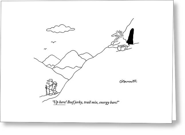 A Guru Is Seen Calling Out To A Hiker Walking Greeting Card by Charles Barsotti